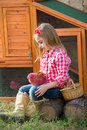 Breeder Hens Kid Girl Rancher Farmer With Chicks In Chicken Coop Royalty Free Stock Photo - 35311735