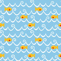 Fishes And Waves Seamless Background Stock Image - 35323101