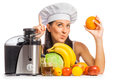 Woman Cook Is Pressing The Juice From The Fruit Royalty Free Stock Photos - 35325398