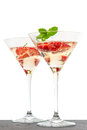 Strawberry Cocktail With Berry In Martini Glass Isolated On Whit Royalty Free Stock Photos - 35346038