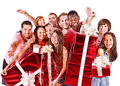 Group People In Santa Hat. Stock Image - 35353571