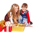 Kids With Christmas Gift Box. Royalty Free Stock Images - 35353589