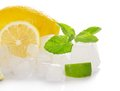 Lemon, Slices Of A Juicy Lime, Mint And Ice Cube Stock Photo - 35358460