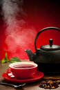 Teapot And Tea Cup Arangement On A Table Royalty Free Stock Image - 35360036