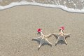 Sea-stars Couple In Santa Hats On The Sand. Royalty Free Stock Image - 35363866
