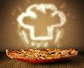 Delicious Pizza With Chef Cook Hat Steam Illustration Stock Photos - 35369733
