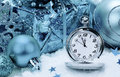 Pocket Watch And Christmas Decorations. Royalty Free Stock Photography - 35413907