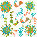 Cute Vector Seamless Pattern With Cartoon Bird And Stock Images - 35419534