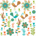 Cute Seamless Pattern With Cartoon Bird And Flower Royalty Free Stock Photo - 35419535