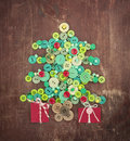 Green And Red Buttons As Christmas Tree Royalty Free Stock Photography - 35423537