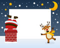 Santa Claus In The Chimney Frame Stock Photography - 35426182