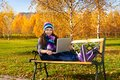 Girl Studying Outside With Laptop Royalty Free Stock Photos - 35429008