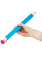 Woman S Hand Is Holding Big Pencil. Stock Images - 35440974