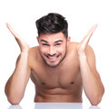 Man With No Clothes On Screaming Of Joy Royalty Free Stock Photos - 35446308