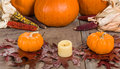 Fall Decorative Display With Pumkins Royalty Free Stock Image - 35457746