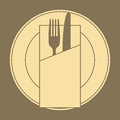 Knife, Fork, Plate And Napkin Stock Photos - 35459033