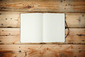 Open Blank Notepad  Laying On A Wooden Ta Stock Image - 35463051
