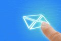 Email Touch Screen Finger Pointing To Envelope Ico Royalty Free Stock Images - 35463559