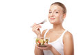 Pretty Girl Eating Fruit Salad Isolated Royalty Free Stock Images - 35478619