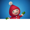 3d Christmas Elf Toy Character With Banner Stock Image - 35480261
