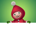 3d Christmas Elf Toy Character With Banner Royalty Free Stock Photography - 35480267