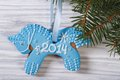 Gingerbread Blue Horse On The Christmas Fir Royalty Free Stock Photography - 35485587