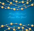 Christmas Background With Golden Baubles And Stars Stock Photography - 35486042
