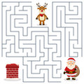 Santa Claus & Chimney Maze For Kids Stock Images - 35489754