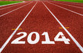 New Year 2014 On Running Track Concept. Royalty Free Stock Image - 35499156