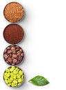 Bowls With Green, Roasted Coffee Beans, Ground And Stock Image - 35501001