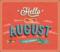 Hello August Typographic Design. Royalty Free Stock Photography - 35512837
