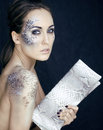 Fashion Portrait Of Pretty Young Woman With Creative Make Up Like A Snake Royalty Free Stock Photos - 35523278