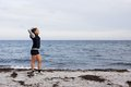 Sporty Fitness Woman Standing On Beach After Workout Stock Images - 35528484