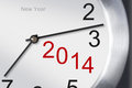 New Year 2014 Concept, Clock Closeup On White Background. Royalty Free Stock Images - 35536639
