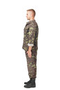 Full Body Side View Of Army Soldier Standing In Attention Stock Photos - 35538813