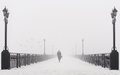 Bridge City Landscape In Foggy Snowy Winter Day Stock Image - 35545561