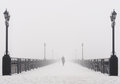 Bridge City Landscape In Foggy Snowy Winter Day Royalty Free Stock Image - 35545566