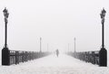 Bridge City Landscape In Foggy Snowy Winter Day Royalty Free Stock Photos - 35545568