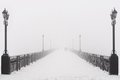 Bridge City Landscape In Foggy Snowy Winter Day Stock Photos - 35545583