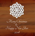 Vector White Paper Snowflake On A Wooden Background Stock Image - 35547921