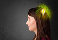 Young Mind Thinking Of Green Eco Energy With Lightbulb Stock Image - 35558921