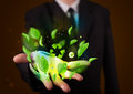 Young Businessman Presenting Eco Green Leaf Recycle Energy Conce Royalty Free Stock Image - 35559026