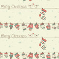 Christmas Seamless Pattern With Birds, Socks Mitte Royalty Free Stock Photo - 35562865