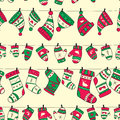 Winter Seamless Pattern With Red Green Socks Mitte Royalty Free Stock Photos - 35563548