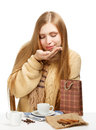 Smiling Woman Smells Coffee Royalty Free Stock Photos - 35566948