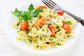 Farfalle Pasta With Roasted Tomato Wedges Stock Image - 35569061