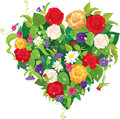 Heart Shape Is Made Of Beautiful Flowers - Roses,  Stock Photo - 35576260