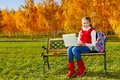 Nice 11 Years Old Girl With Laptop Stock Photography - 35576282