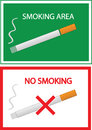 No Smoking And Smoking Area Sign Stock Photo - 35580150