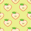 Halves Apple Seamless Vector Pattern Or Background Royalty Free Stock Images - 35582409